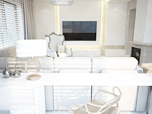 Dom koło Ostrołęki w stylu GLAMOUR - Średni biały salon, styl glamour - zdjęcie od Mart-Design Architektura Wnętrz