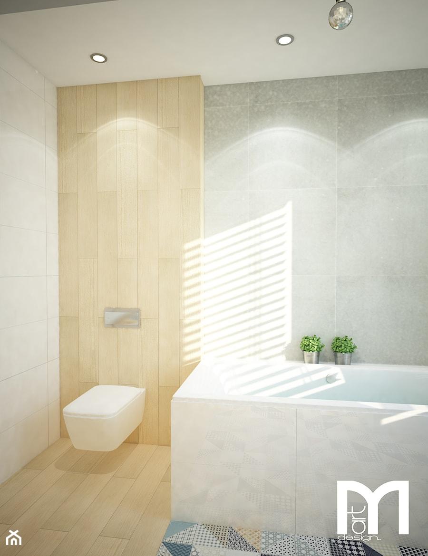 Projekt domu jednorodzinnego z pastelowymi kolorami - Średnia beżowa szara łazienka na poddaszu w bloku w domu jednorodzinnym bez okna, styl nowoczesny - zdjęcie od Mart-Design Architektura Wnętrz