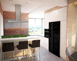 Projekt domu jednorodzinnego okolice Ostrołęki - Średnia otwarta biała brązowa kuchnia w kształcie litery g, styl industrialny - zdjęcie od Mart-Design Architektura Wnętrz