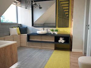 Projekt łazienki z mocnym akcentem kolorystycznym - Średnia beżowa szara żółta łazienka na poddaszu w domu jednorodzinnym z oknem, styl nowoczesny - zdjęcie od Mart-Design Architektura Wnętrz
