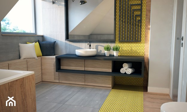 łazienka na poddaszu w szaro-żółtej tonacji