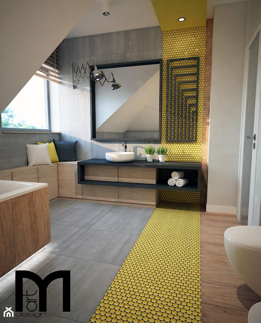 Projekt łazienki z mocnym akcentem kolorystycznym - Średnia beżowa szara żółta łazienka na poddaszu w domu jednorodzinnym z oknem, styl nowoczesny - zdjęcie od Mart-Design Architektura Wnętrz - Homebook