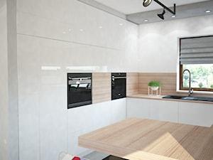 Projekt domu jednorodzinnego z pastelowymi kolorami - Średnia otwarta biała kuchnia w kształcie litery g, styl nowoczesny - zdjęcie od Mart-Design Architektura Wnętrz