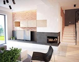 Projekt domu jednorodzinnego okolice Ostrołęki - Średni szary biały salon z tarasem / balkonem, styl nowoczesny - zdjęcie od Mart-Design Architektura Wnętrz