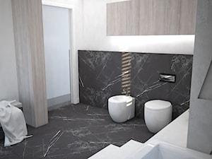 Nowoczesna łazienka z betonowymi panelami 3D