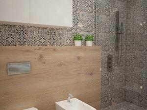 Mieszkanie we Wrocławiu, styl skandynawski - Mała szara łazienka w bloku w domu jednorodzinnym bez okna, styl rustykalny - zdjęcie od Mart-Design Architektura Wnętrz