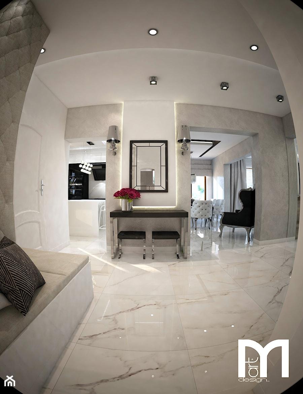 Aranżacje wnętrz - Hol / Przedpokój: Dom koło Ostrołęki w stylu GLAMOUR - Średni biały hol / przedpokój, styl glamour - Mart-Design Architektura Wnętrz. Przeglądaj, dodawaj i zapisuj najlepsze zdjęcia, pomysły i inspiracje designerskie. W bazie mamy już prawie milion fotografii!