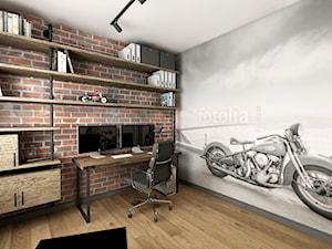 Przytulny industrial - Duże biuro domowe w pokoju - zdjęcie od Good Place For Living