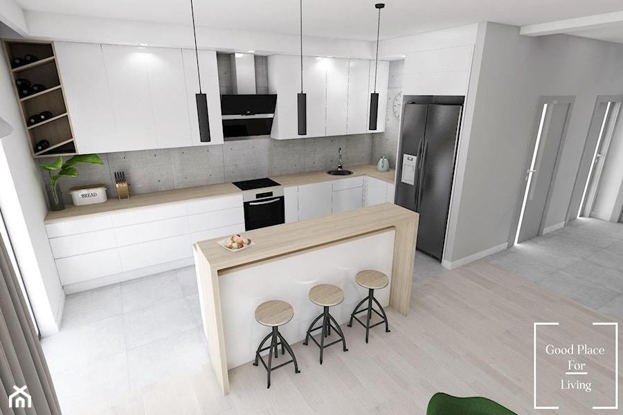 Przytulny industrial, Batowice - Średnia biała szara kuchnia w kształcie litery l w aneksie z wyspą z oknem, styl industrialny - zdjęcie od Good Place For Living