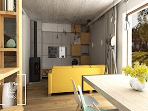 Przytulny industrial - Mały szary biały salon z jadalnią, styl industrialny - zdjęcie od Good Place For Living