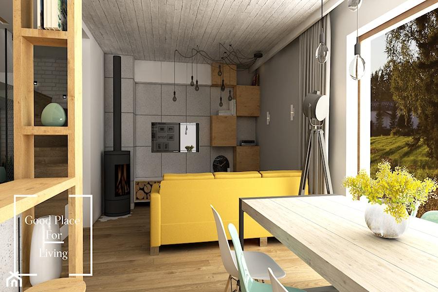 Aranżacje wnętrz - Salon: Przytulny industrial - Mały szary biały salon z jadalnią, styl industrialny - Good Place For Living. Przeglądaj, dodawaj i zapisuj najlepsze zdjęcia, pomysły i inspiracje designerskie. W bazie mamy już prawie milion fotografii!