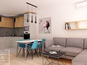 Ul. Bajeczna - Mała biała jadalnia w kuchni w salonie - zdjęcie od Good Place For Living