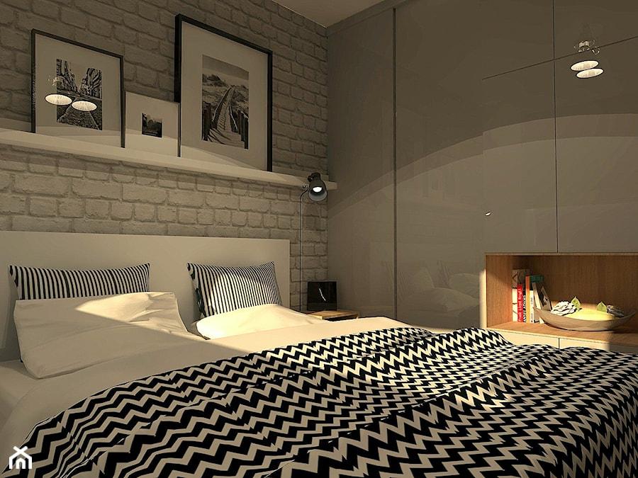 Mieszkanie W Stylu Loft średnia Biała Sypialnia Małżeńska