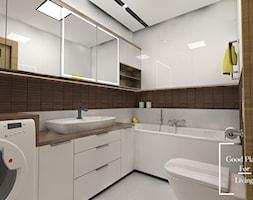 Apartamenty Saska nad Jeziorem - Mała biała beżowa łazienka bez okna, styl skandynawski - zdjęcie od Good Place For Living