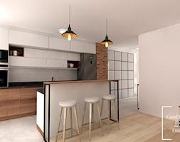 Mieszkanie, Bagry Park - Średnia otwarta biała szara kuchnia jednorzędowa z wyspą z oknem, styl industrialny - zdjęcie od Good Place For Living