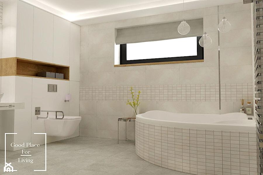 Elegancka łazienka w domu jednorodzinnym - Średnia beżowa łazienka na poddaszu w bloku w domu jednorodzinnym z oknem, styl klasyczny - zdjęcie od Good Place For Living