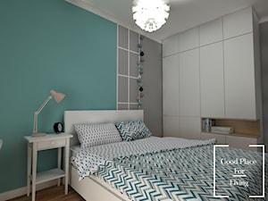 Osiedle Fi - 48 m2 - Średnia szara turkusowa miętowa sypialnia małżeńska, styl nowoczesny - zdjęcie od Good Place For Living