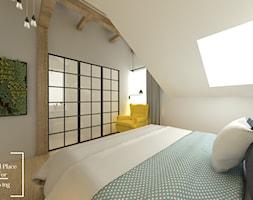 Przytulny industrial - Duża biała sypialnia małżeńska na poddaszu z łazienką, styl industrialny - zdjęcie od Good Place For Living
