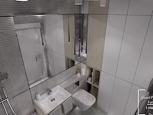 Osiedle Avia - Mała szara łazienka na poddaszu w bloku w domu jednorodzinnym bez okna - zdjęcie od Good Place For Living