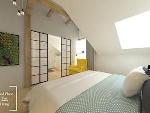 Przytulny industrial - Mała biała sypialnia małżeńska na poddaszu z łazienką, styl industrialny - zdjęcie od Good Place For Living