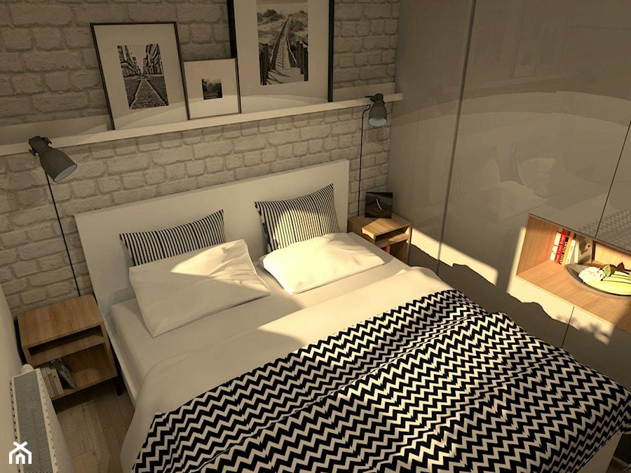 Mieszkanie W Stylu Loft Mała Biała Sypialnia Małżeńska