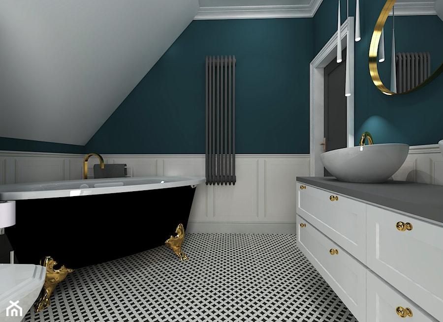 Eklektyzm - Średnia beżowa turkusowa łazienka na poddaszu w domu jednorodzinnym bez okna, styl eklektyczny - zdjęcie od Good Place For Living