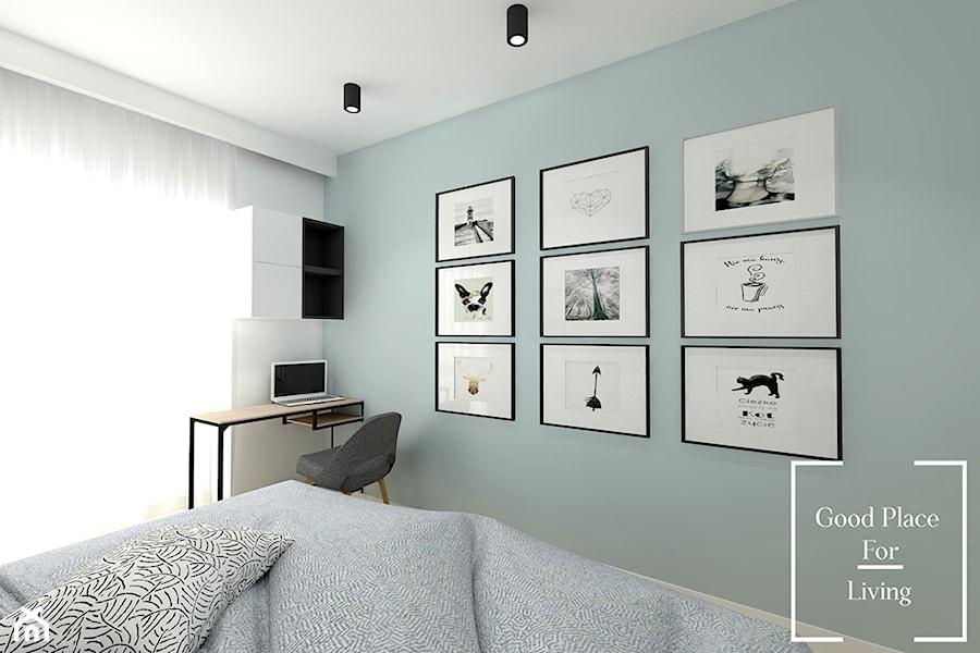 Mieszkanie w odcieniach pasteli - Duża biała zielona sypialnia małżeńska, styl nowoczesny - zdjęcie od Good Place For Living