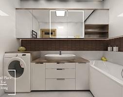 Apartamenty Saska nad Jeziorem - Mała biała łazienka na poddaszu w bloku w domu jednorodzinnym bez okna, styl skandynawski - zdjęcie od Good Place For Living