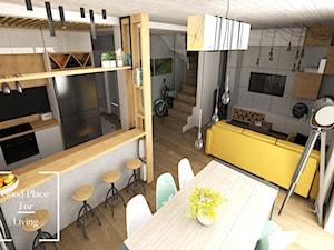 Przytulny industrial - Mały szary salon z kuchnią z jadalnią, styl industrialny - zdjęcie od Good Place For Living