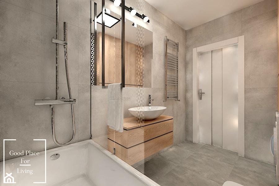 Mieszkanie, Bagry Park - Średnia szara łazienka na poddaszu w bloku w domu jednorodzinnym bez okna, styl tradycyjny - zdjęcie od Good Place For Living