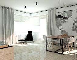 Duża otwarta biała jadalnia w kuchni w salonie, styl industrialny - zdjęcie od Good Place For Living