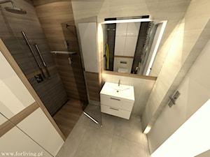 Mieszkanie w stylu loft - Mała beżowa brązowa łazienka w bloku bez okna, styl eklektyczny - zdjęcie od Good Place For Living