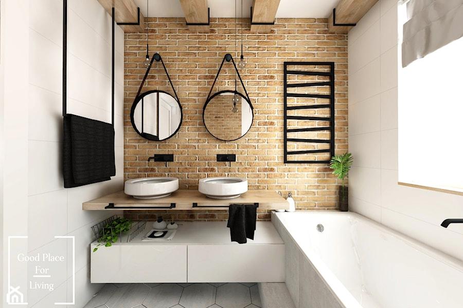 Przytulny industrial - Mała łazienka w bloku w domu jednorodzinnym z oknem, styl industrialny - zdjęcie od Good Place For Living