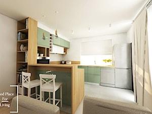 Salon z aneksem - Tymbark - Średnia otwarta biała kuchnia w kształcie litery g w aneksie z oknem, styl nowoczesny - zdjęcie od Good Place For Living