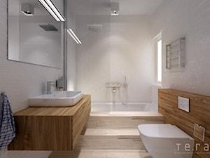 Projekty wnętrz lokali mieszkalnych ul.Hoża Kielce - Średnia beżowa łazienka z oknem - zdjęcie od Tera Group Pracownia Architektoniczna