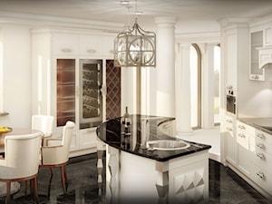 Przebudowa wnętrz willi w stylu glamour - Duża otwarta biała kuchnia dwurzędowa w aneksie z wyspą z oknem, styl glamour - zdjęcie od KJ Architekci