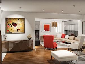 Projekt wnętrz domu w Warszawie - Duży biały salon, styl nowoczesny - zdjęcie od KJ Architekci