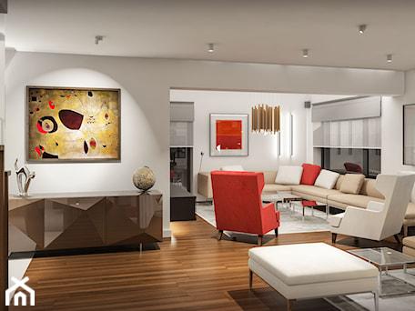 Aranżacje wnętrz - Salon: Projekt wnętrz domu w Warszawie - Duży biały salon, styl nowoczesny - KJ Architekci. Przeglądaj, dodawaj i zapisuj najlepsze zdjęcia, pomysły i inspiracje designerskie. W bazie mamy już prawie milion fotografii!