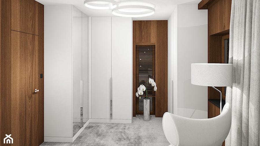 Aranżacje wnętrz - Garderoba: Projekt wnętrz małego domu jednorodzinnego - Średnia zamknięta garderoba z oknem oddzielne pomieszczenie, styl nowoczesny - KJ Architekci. Przeglądaj, dodawaj i zapisuj najlepsze zdjęcia, pomysły i inspiracje designerskie. W bazie mamy już prawie milion fotografii!