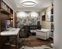 Projekt wnętrz domu w Warszawie - Średnie beżowe białe biuro domowe w pokoju, styl nowoczesny - zdjęcie od KJ Architekci