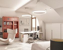 Przebudowa wnętrz willi w stylu glamour - Średnie białe biuro domowe kącik do pracy na poddaszu w pokoju, styl nowoczesny - zdjęcie od KJ Architekci