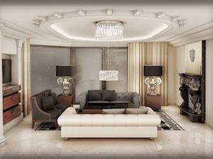 Przebudowa wnętrz willi w stylu glamour - Średni biały salon z tarasem / balkonem, styl glamour - zdjęcie od KJ Architekci