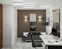 Projekt wnętrz małego domu jednorodzinnego - Średnie brązowe białe biuro domowe w pokoju, styl nowoczesny - zdjęcie od KJ Architekci
