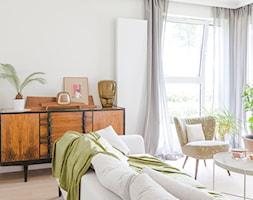 Apartament M&P - Średni biały salon, styl eklektyczny - zdjęcie od Kraupe Studio - Homebook