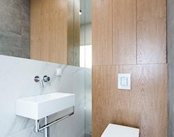 Łazienka i toaleta P&O - Mała szara łazienka w bloku w domu jednorodzinnym bez okna, styl nowoczesn ... - zdjęcie od Kraupe Studio - Homebook
