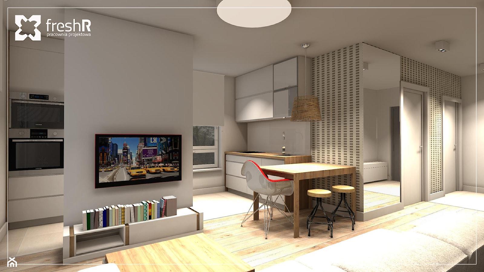 Długie i wąskie - 45m2 - Duży biały salon z bibiloteczką z kuchnią z jadalnią, styl nowoczesny - zdjęcie od freshR - pracownia projektowa - Homebook