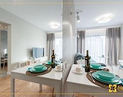 Mieszkanie 35m2 Kraków - Mały szary salon z jadalnią, styl nowoczesny - zdjęcie od freshR - pracownia projektowa