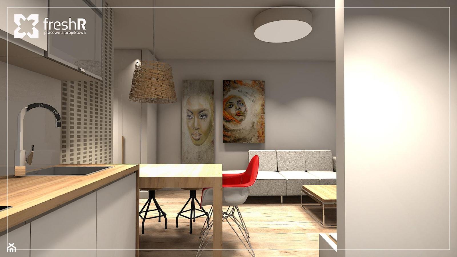 Długie i wąskie - 45m2 - Kuchnia, styl nowoczesny - zdjęcie od freshR - pracownia projektowa - Homebook