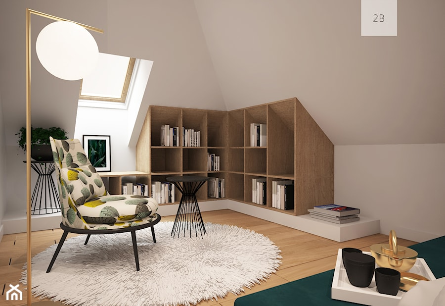 SYPIALNIA - Duża biała sypialnia małżeńska na poddaszu, styl nowoczesny - zdjęcie od TO BE DESIGN WERONIKA BUDZICHOWSKA