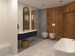 Duża kolorowa łazienka w bloku w domu jednorodzinnym jako salon kąpielowy, styl vintage - zdjęcie od TO BE DESIGN WERONIKA BUDZICHOWSKA